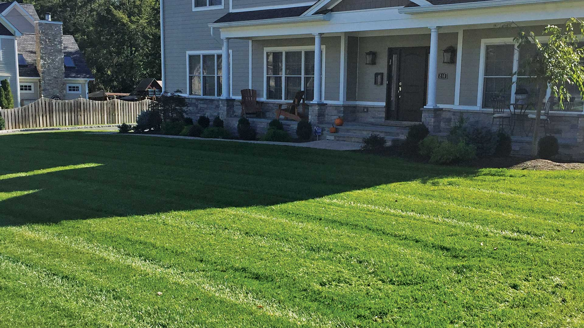 Recently mowed lawn at a home in Westfield, NJ.